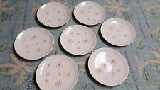 Royal China Star Glow 2) Bread Plates 5) Saucers Gold Stars Atomic MCM USA