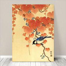 "Beautiful Japanese Bird Art ~ CANVAS PRINT 8x10"" ~ Blue Bird Red leaves Koson"