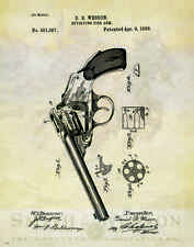 Smith & Wesson Revolver Patent Print Vintage Gun Collector Pistol Office Artwork