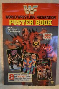 WWF WWE Checkerboard Press Poster Book 1991 Tag Team superstars great condition