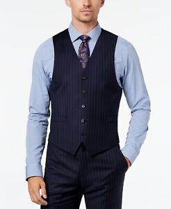 Ralph Lauren Mens Navy Blue Pin-Striped 100% Wool Vest NWT $125 Size S