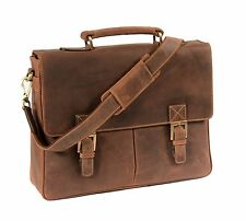 Mens REAL Leather Briefcase TAN Vintage Satchel Office College Uni Business Bag