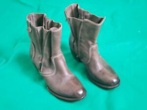 Freebird FB-South Distressed Grey Leather Zip Up Ankle Boots Women's SZ US 8/39