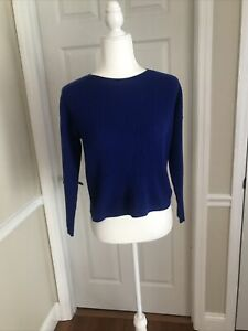 EILEEN FISHER Royal Blue Wool Blend Ribbed Sweater Petite PP