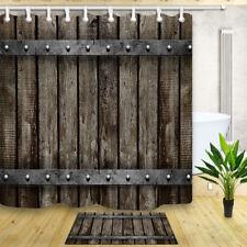 "Waterproof Fabric Rustic Old Wooden Door Bathroom Shower Curtain & 12 Hooks 71"""