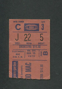 Original 1979 Fleetwood Mac Concert Ticket Stub Madison Square Garden Tusk Tour