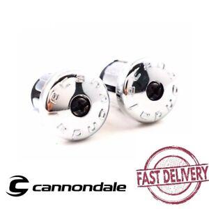 Cannondal Road Bike Chrome Plastic Screw-in Drop Handle Bar End Plugs Silver