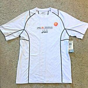 Asics Mens ING New York Marathon 2012 SS Shirt- MR1110M White Size Small UPF 50+