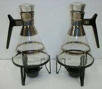 Pair Vtg Mid Century Modern Atomic Glass Chrome Coffee Carafes w/ Candle Warmers