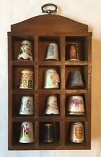 Collection of 12 vintage & modern China Thimbles in small wooden Display Case