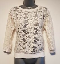 Size 8 Top White Lace 3/4 Sleeves Excellent Condition Women's Casual Fitted
