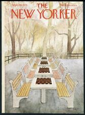 New Yorker magazine framing cover September 29 1975 chess board tables park