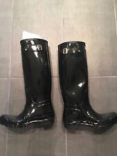 Hunter Original Tall Gloss Black Rain Boots with Hunter White Socks