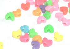 50 MIXED COLOURED HEART SHAPED PLASTIC PONY DUMMY CLIP JEWELLERY CRAFT BEADS