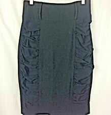 KEMPO Pencil Skirt Black Ruched Sides Wide Waistband Cocktail Wiggle juniors  L