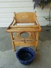 New listing Vintage Wood Potty Chair With Tray And blue Enamel Pot