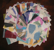 "100 Assorted charm pack 4"" squares Ikat Adras handmade fabric quilt scrap #346"