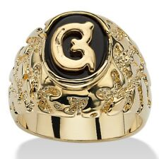 14K GOLD ONYX LETTER G INITIAL NUGGET RING SIZE GP 8 9 10 11 12 13