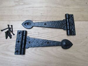 """PAIR OF SPEAR HEAD cast iron door gate t tee hinges  English cottage style 12"""""""
