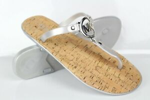 Michael Kors Women's MK Charm Jelly Flip Flop Cork Bottom Silver