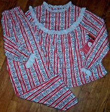 NWT Lanz of Salzburg RED HEARTS Tyrolean Flannel Pajama Set LACE 3/3T Girls