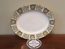 "Royal Crown Derby DERBY PANEL GREEN 15"" Oval Serving Platter ~ 2nd Quality"