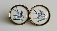 Swallow Earrings Antique Bronze Studs Jewellery Delft Blue Kitsch bird BN