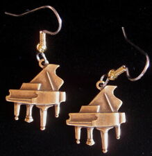 or Antiqued Brass Music Teacher Baby Grand Piano Earrings Silver Plate