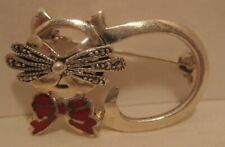 """w Red Bow & Marcasite Whiskers 1960s Unusual Old Sterling Silver Cat Pin 1 1/4"""""""