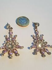 Silver Plated Pink and Clear Crystal Starburst  Earrings