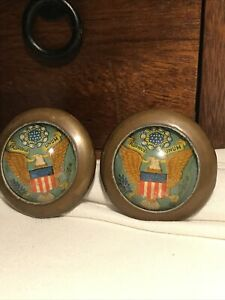 🎆Rare Antique Pair Brass & Lucite Patriotic Eagle curtain tiebacks🎇