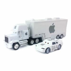Disney Pixar Cars White No.84 Apple Mack Truck & Car 1:55 Diecast Car Toys Loose