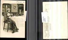 """205399,Präge AK Märchen Sage """"Faust"""" Frau b. Zöpfe flechten Kleid Tasche"""