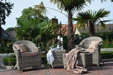 Sitzgruppe Balkon Terasse Wintergarten Polyrattan Stuhl Rattan Sandfarben