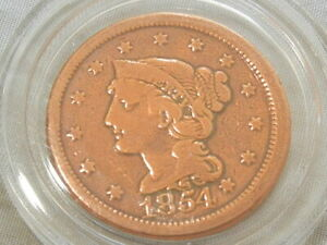 1854 coronet braided hair large cent