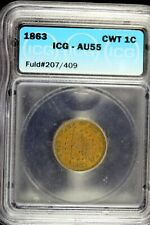 1863 - Icg Au55 (Fuld#207/409) Civil War Token The Flag Of Our Union! #B17722