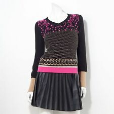 PRINCESS VERA WANG Womens Black Pink Gold SWEATER Snowflake Lurex Pom Pom Winter