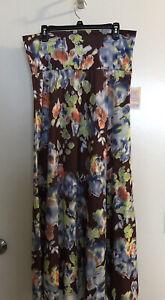 Lularoe Modest Maxi Skirt Tummy Band Sz XL Brown Floral