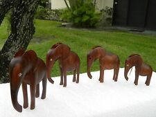 WOOD VINTAGE MINI 4 ELEPHANT HOME DECOR ANIMAL SCULPTURE CARVINGS