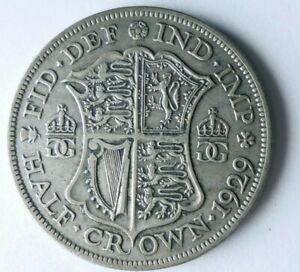 1929 GREAT BRITAIN 1/2 CROWN - AU - Excellent Vintage Silver Coin - Lot #L27