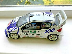 Solido Peugeot 206 WRC, White, No. 15, scale 1:18, broken spoiler, not boxed