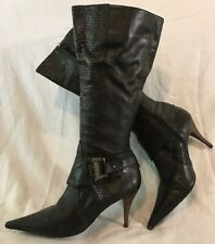 PARA RAIO Black Knee High Leather Lovely Boots Size 39 (212vv)
