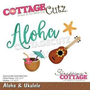 """CottageCutz Dies Aloha 3.8""""X2.1"""", Ukulele 1.1""""X2.7"""" 819038026896"""