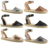 Ladies Flat Espadrilles Womens Ella Glitter Ankle Strap Sandals Pumps Shoes Size