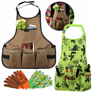 Gardening Apron, Adjustable Garden Apron Tool Apron with Pockets&1 Pair Gloves