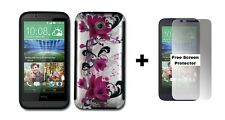HTC Desire 510 Rubberized Hybrid Phone Case + Free Screen Protector Red Flowers