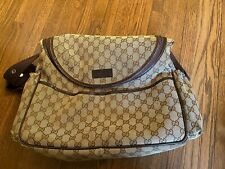 GUCCI ORIGINAL GG BROWN LEATHER & LOGO CANVAS BABY DIAPER BAG