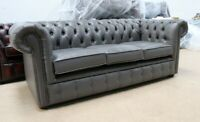 CHESTERFIELD TUFTED BUTTONED 3 SEATER SOFA COUCH BONDED GREY LEATHER