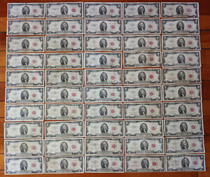 Lot 50 VG-VF RED SEAL $2 Two Dollar Bill 1953-1963 A B US Note=$100 Face NO JUNK