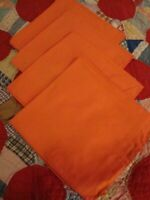 Set (4) Vintage Theme Napkins Orange Linen Fall Holiday Thanksgiving Decor   229